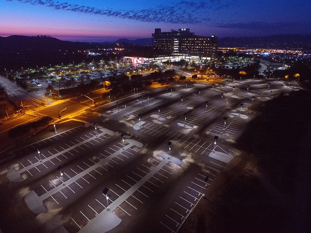 Palomar Hospital | Solar Parking Lot Lighting